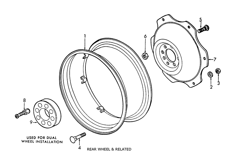 Ford Tractor Wheel Centers : Ford n rear wheel related parts list