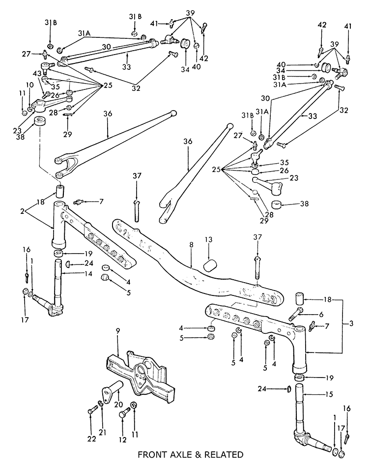 Ford 8N Front Axle u0026 related  sc 1 st  Roberts Farm Equipment : ford 8n wiring diagram - yogabreezes.com