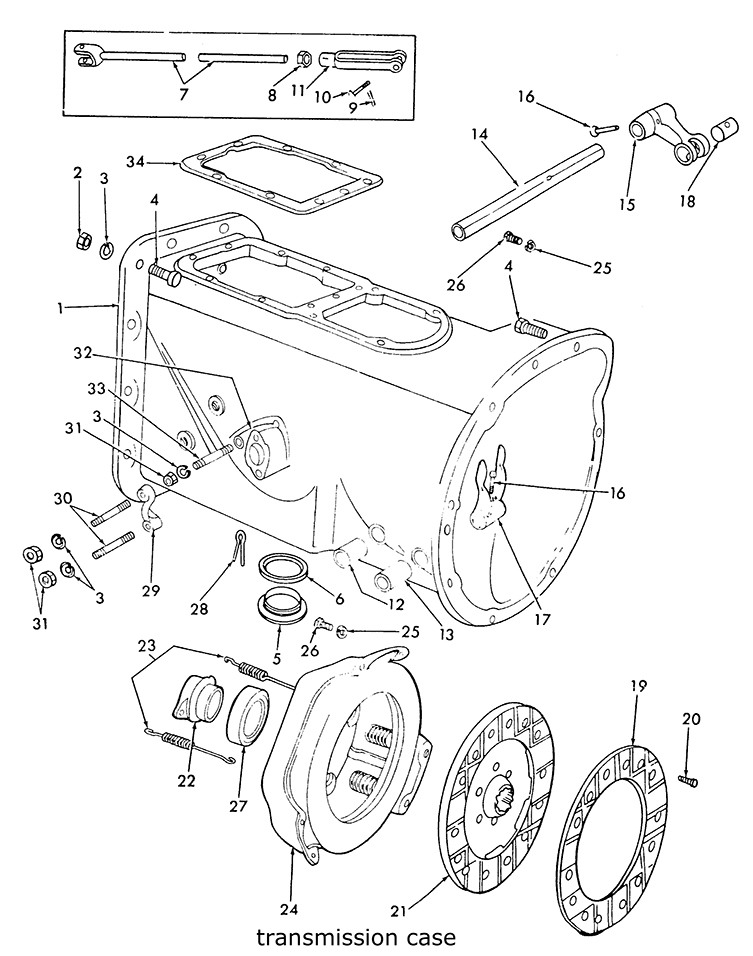 9n Tractor Parts Diagram : Ford n transmission case clutch related