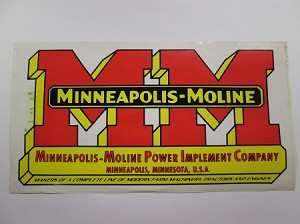 Minneapolis - Moline 6 by 10 Decal